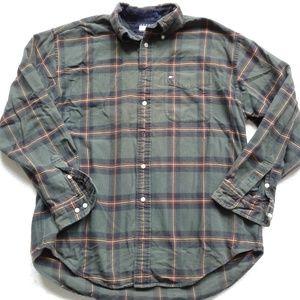 Tommy Hilfiger Shirt Plaid Button Down Green Heavy